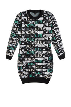 sweatjurk met all over print zwart/wit/groen