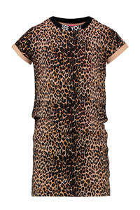 Vingino T-shirtjurk Polly met panterprint bruin/zwart, Bruin/zwart