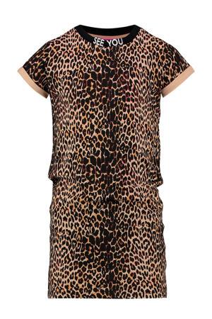 T-shirtjurk Polly met panterprint bruin/zwart