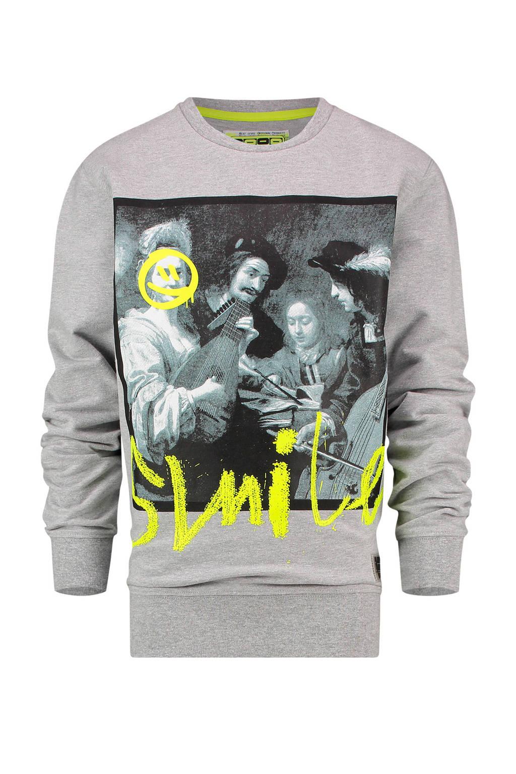 Vingino sweater Nazio met printopdruk lichtgrijs melange, Lichtgrijs melange