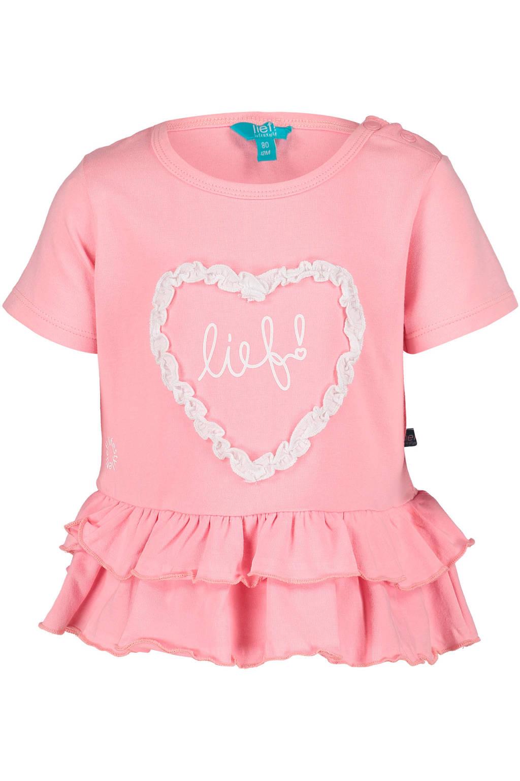 lief! regular fit T-shirt met printopdruk roze, Roze