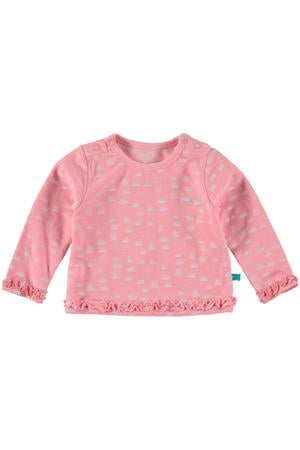 baby longsleeve met all over print en ruches roze
