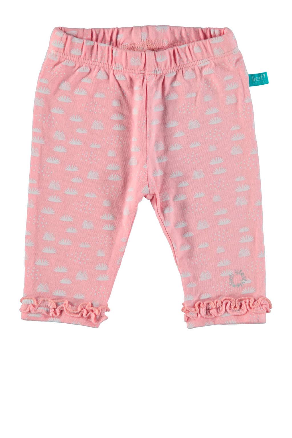 lief! baby legging met all over print roze, Roze