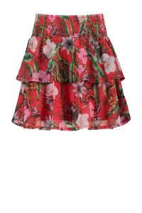 CoolCat Junior rok Ruby met all over print multicolor, Rood/roze/groen