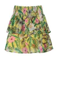 CoolCat Junior rok Ruby met all over print multicolor, Geel/groen/roze