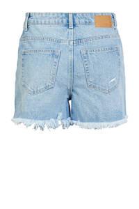 PIECES high waist jeans short light blue, Light Blue
