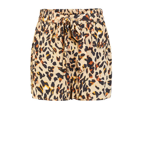 PIECES straight fit short met all over print bruin