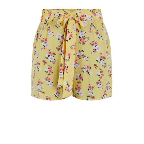 PIECES straight fit short met all over print geel