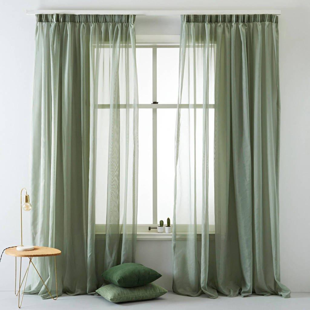 Wehkamp Home inbetween kant en klaar transparant gordijn (per stuk) (280 x 270 cm), Antique groen