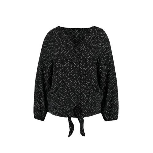 MS Mode blouse met stippen zwart/wit