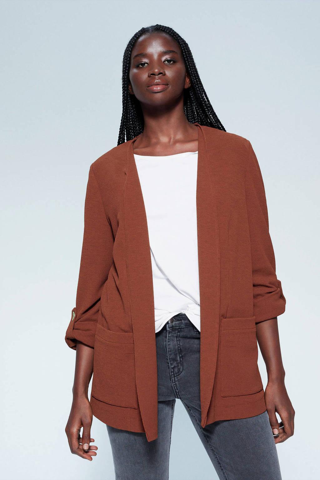 Violeta by Mango blazer en textuur bruin, Bruin