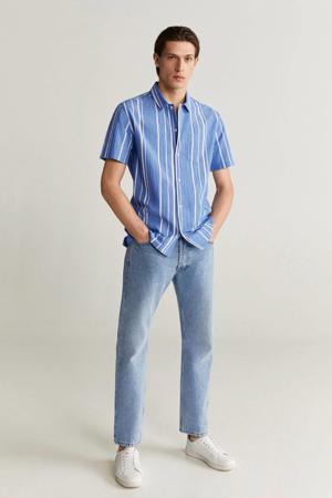 gestreept slim fit overhemd middenblauw