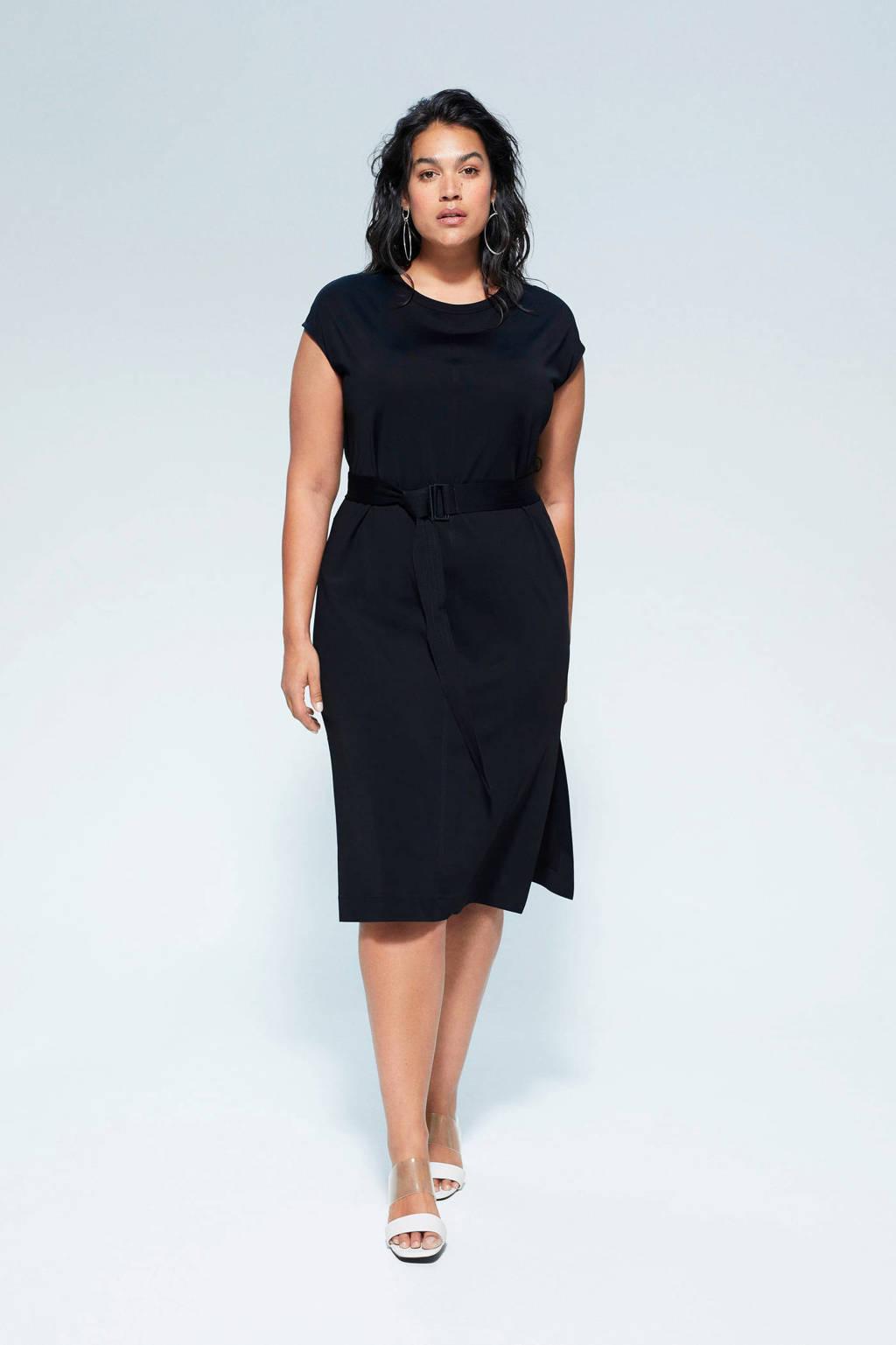 Violeta by Mango jurk en ceintuur zwart, Zwart