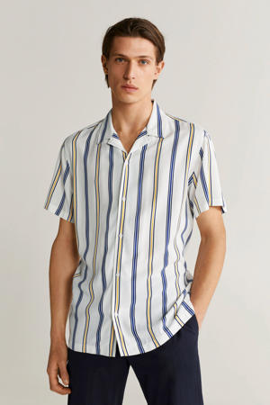 gestreept slim fit overhemd wit