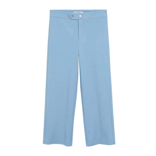 Mango cropped straight fit pantalon pastelblauw