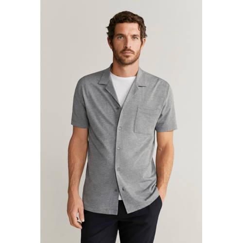 Mango Man slim fit overhemd grijs