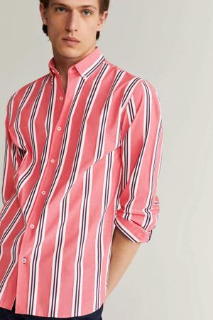 gestreept slim fit overhemd rood