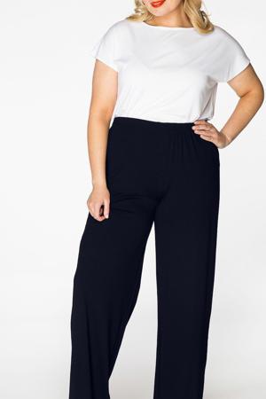 high waist regular fit broek blauw