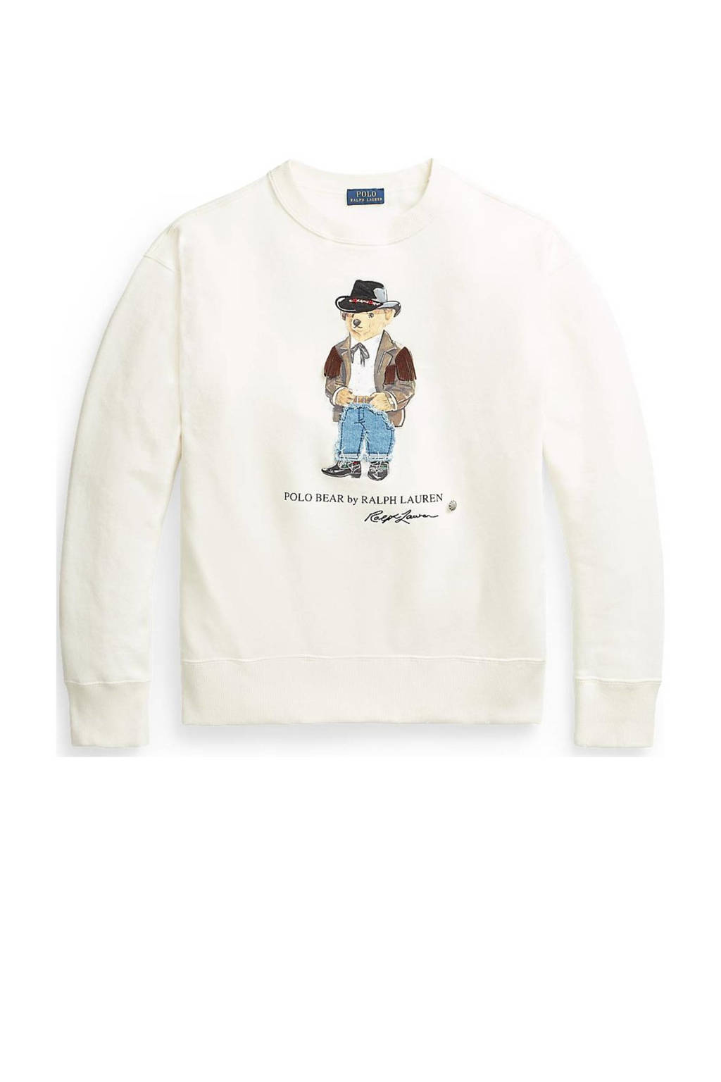 POLO Ralph Lauren sweater met printopdruk ecru, Ecru