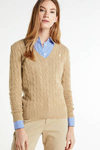 POLO Ralph Lauren kabeltrui KIMBERLY-CLASSIC-LONG SLEEVE-SWEATER met wol luxery beige heather, Luxery beige heather