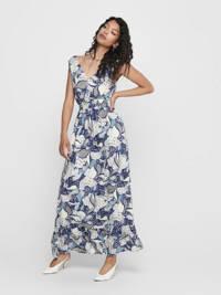 ONLY maxi jurk met all over print en plooien blauw/multi, Blauw/multi