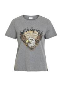 VILA T-shirt met printopdruk grijs, Grijs