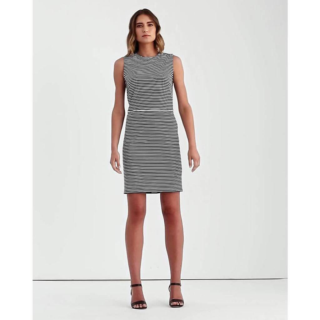Lauren Ralph Lauren gestreepte jurk YANABA wit/zwart, Wit/zwart