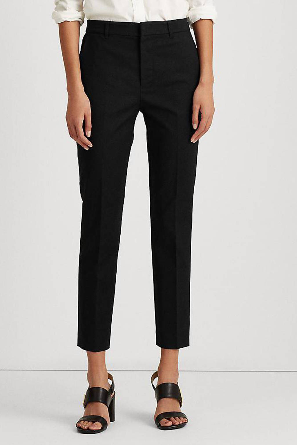 Lauren Ralph Lauren cropped slim fit broek LAKYTHIA black, Black