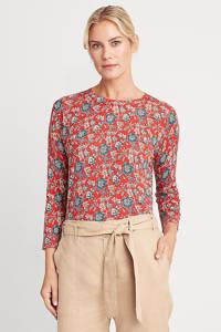 Lauren Ralph Lauren gebloemde fijngebreide top MEGGIE rood/blauw/ecru, Rood/blauw/ecru