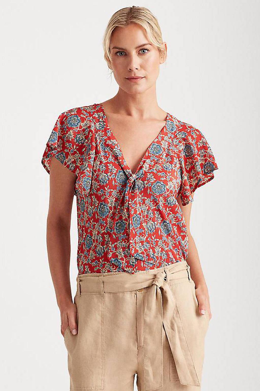 Lauren Ralph Lauren gebloemde semi-transparante top CHUI rood/blauw/wit, Rood/blauw/wit