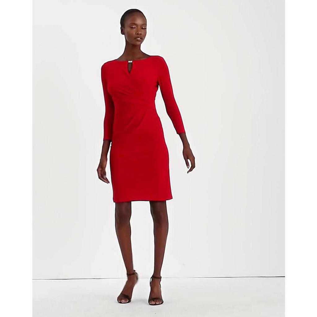 Lauren Ralph Lauren jurk Carlonda met open detail rood, Rood