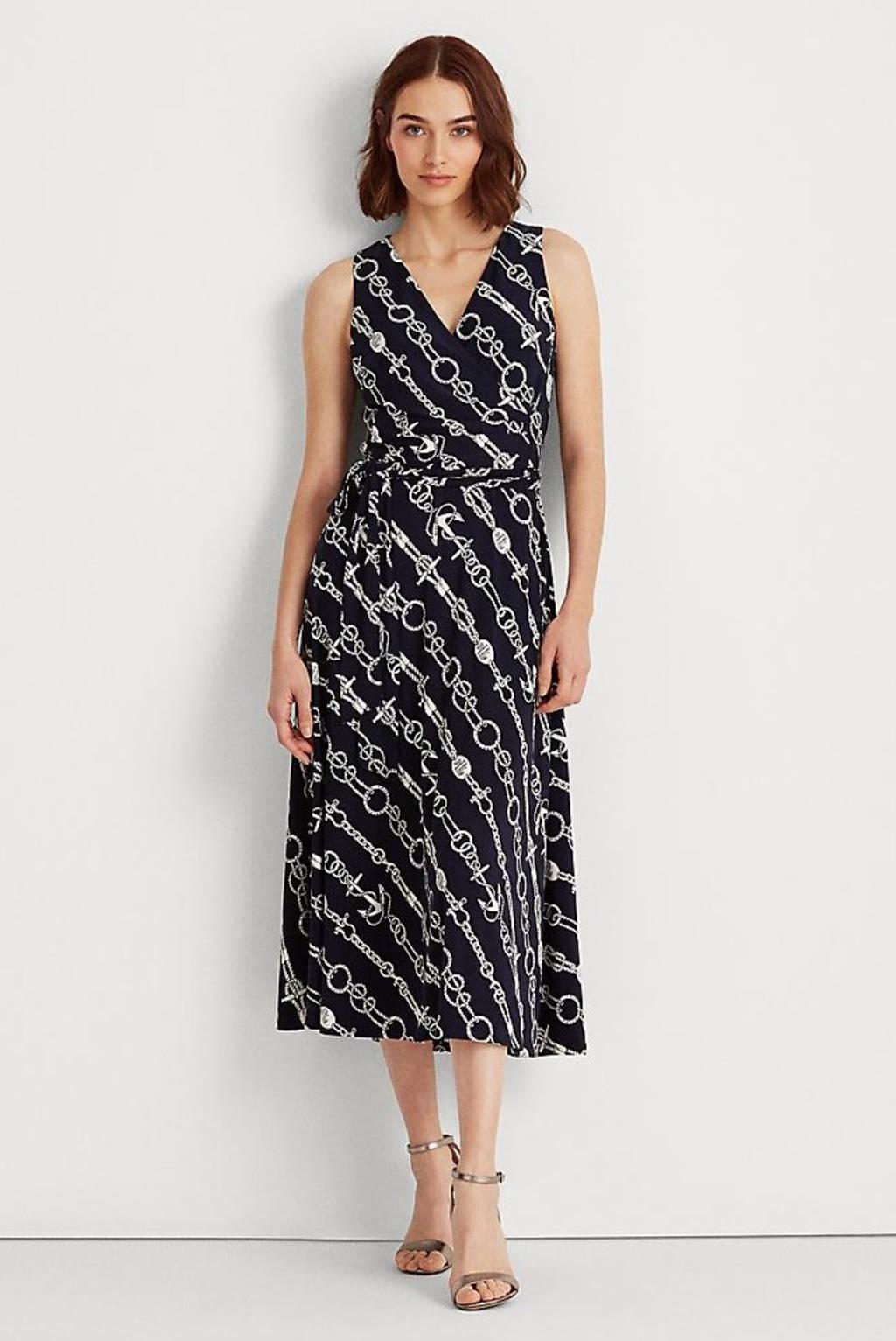 Lauren Ralph Lauren jurk Carana met all over print donkerblauw/wit, Donkerblauw/wit