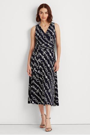 jurk Carana met all over print donkerblauw/wit