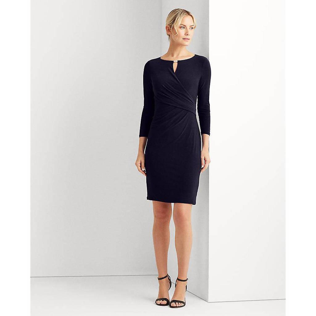 Lauren Ralph Lauren jurk Carlonda met open detail blauw, Blauw