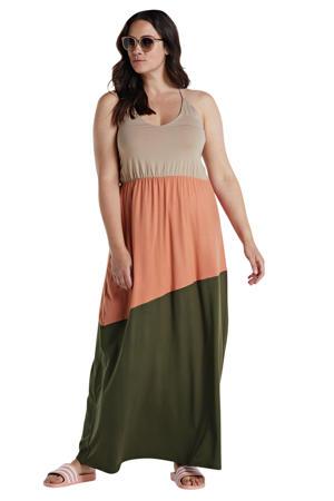 maxi jurk groen/roze/beige