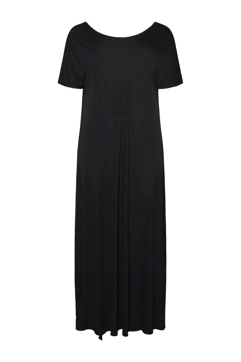 VERO MODA CURVE jurk met plooien zwart, Zwart