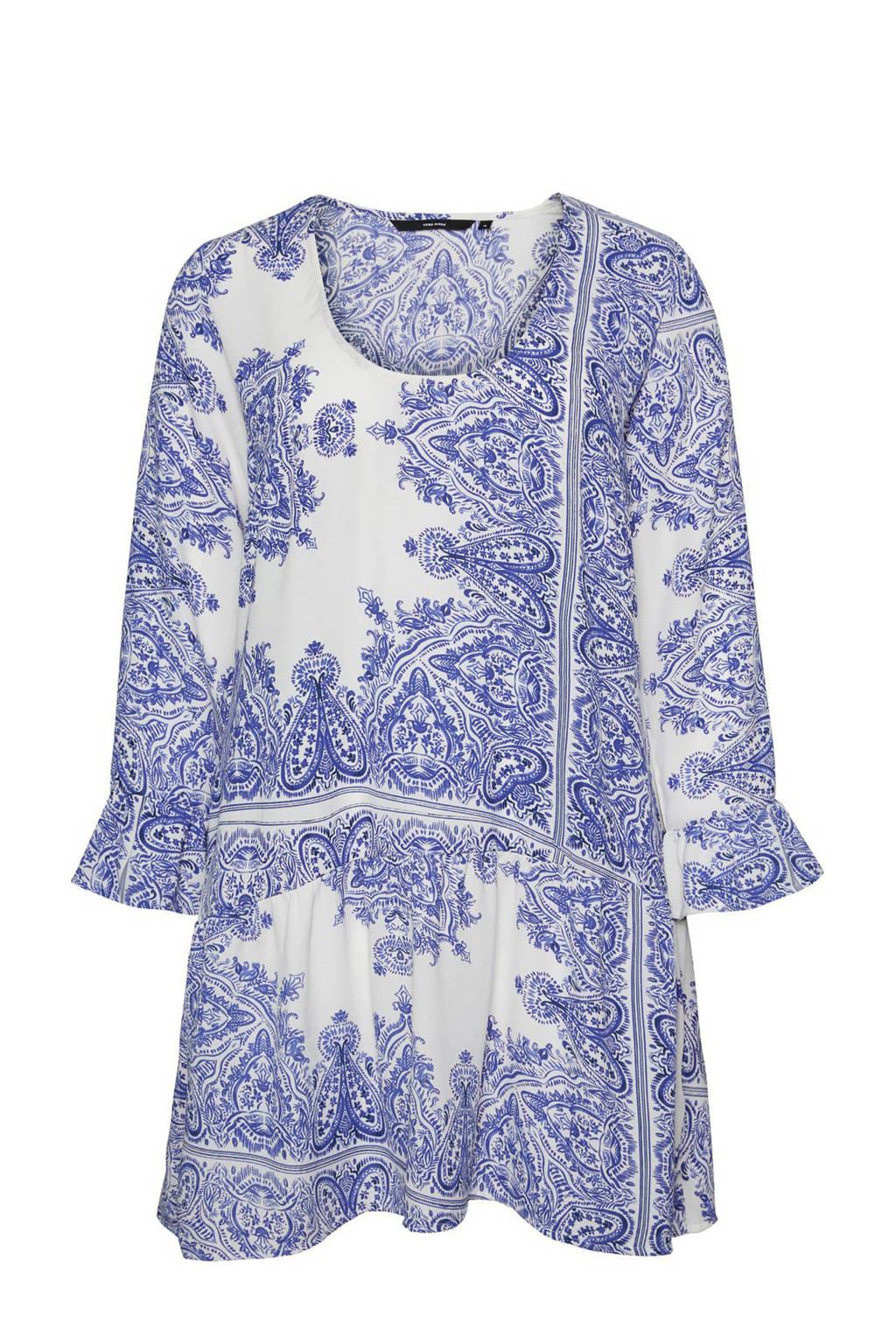 VERO MODA CURVE jurk met all over print wit/blauw, Wit/blauw