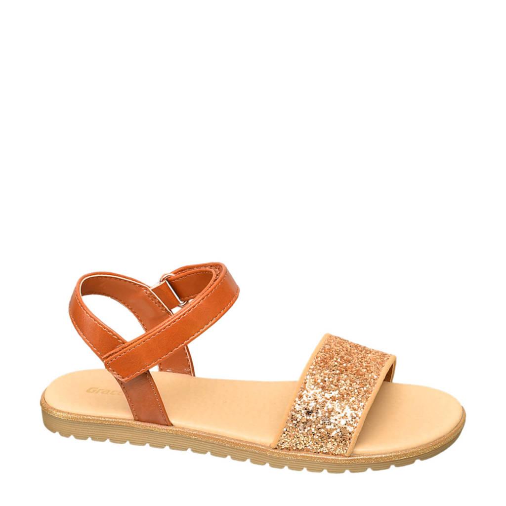 Graceland   sandalen cognac/goud, Cognac/Goud