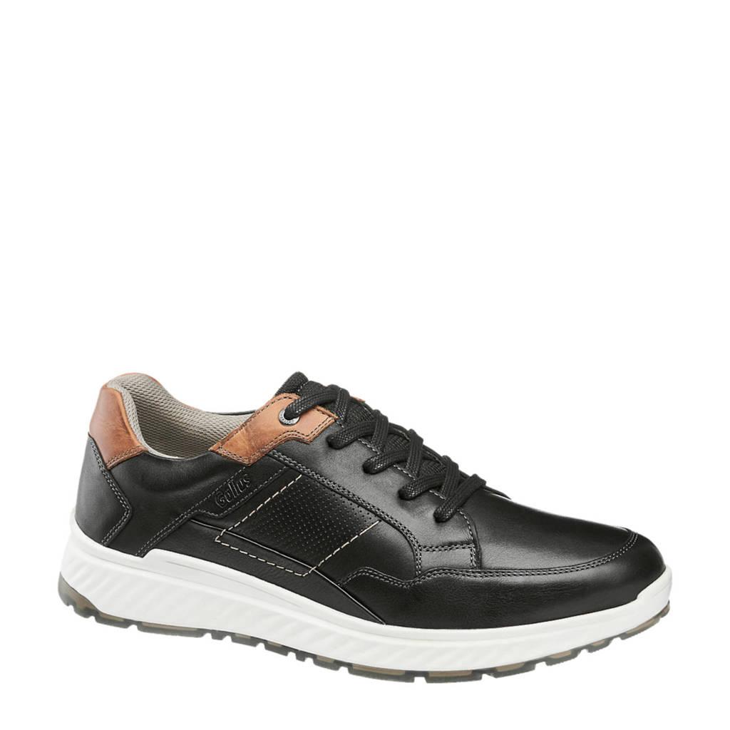 Gallus   leren sneakers zwart, Zwart
