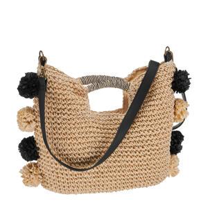 rieten schoudertas met pompons naturel/zwart