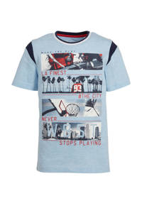 C&A Here & There T-shirt met printopdruk lichtblauw/rood, Lichtblauw/rood