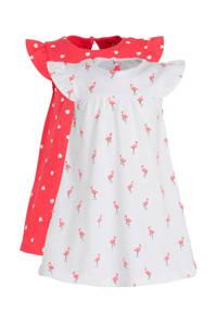 C&A Baby Club jurk - set van 2 wit/roze, Wit/roze