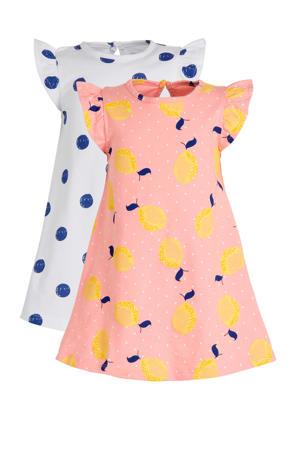 jurk - set van 2 roze/wit/blauw