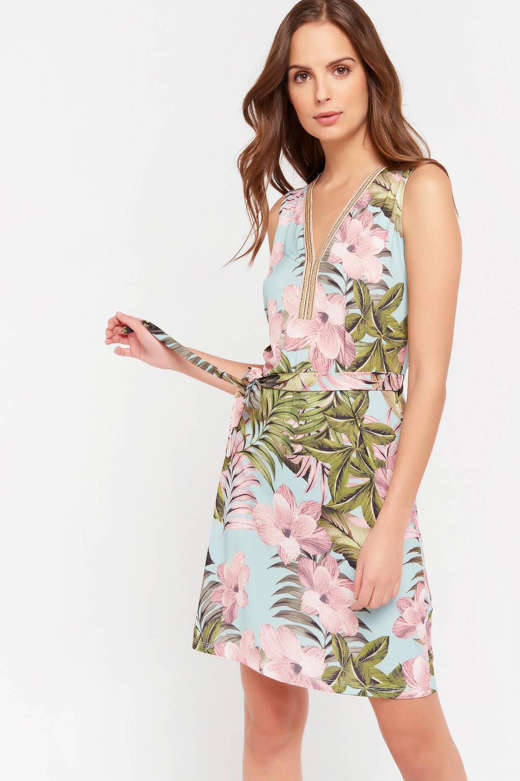 LOLALIZA gebloemde jurk blauw/roze, Blauw/roze