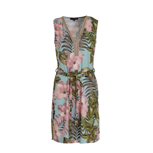 LOLALIZA gebloemde jurk blauw/roze