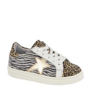leren sneakers zebra- en panterprint