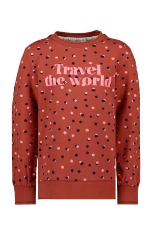 sweater met all over print donker oranje