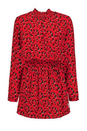 jurk met panterprint rood/groen