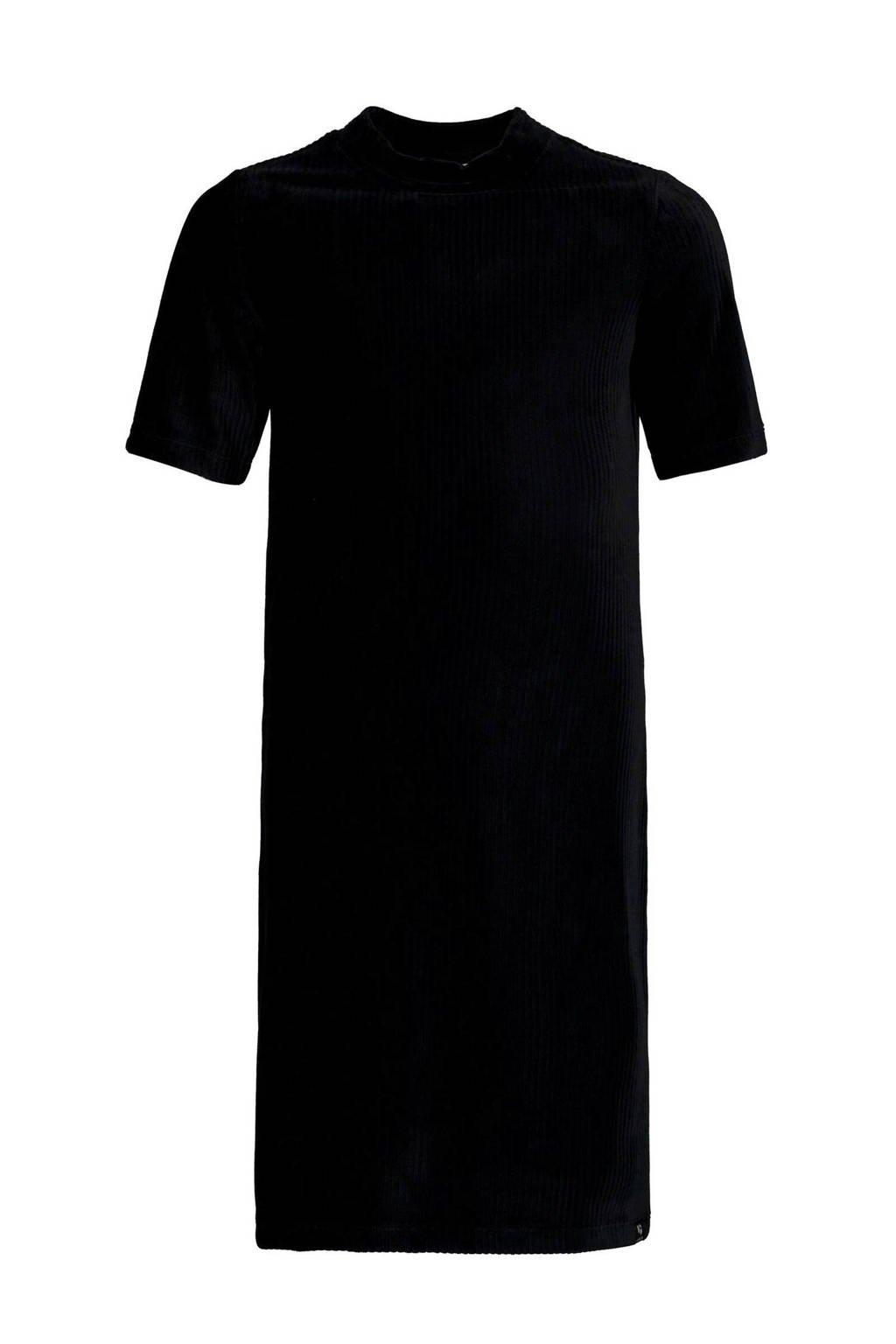 Garcia ribgebreide jurk zwart, Zwart