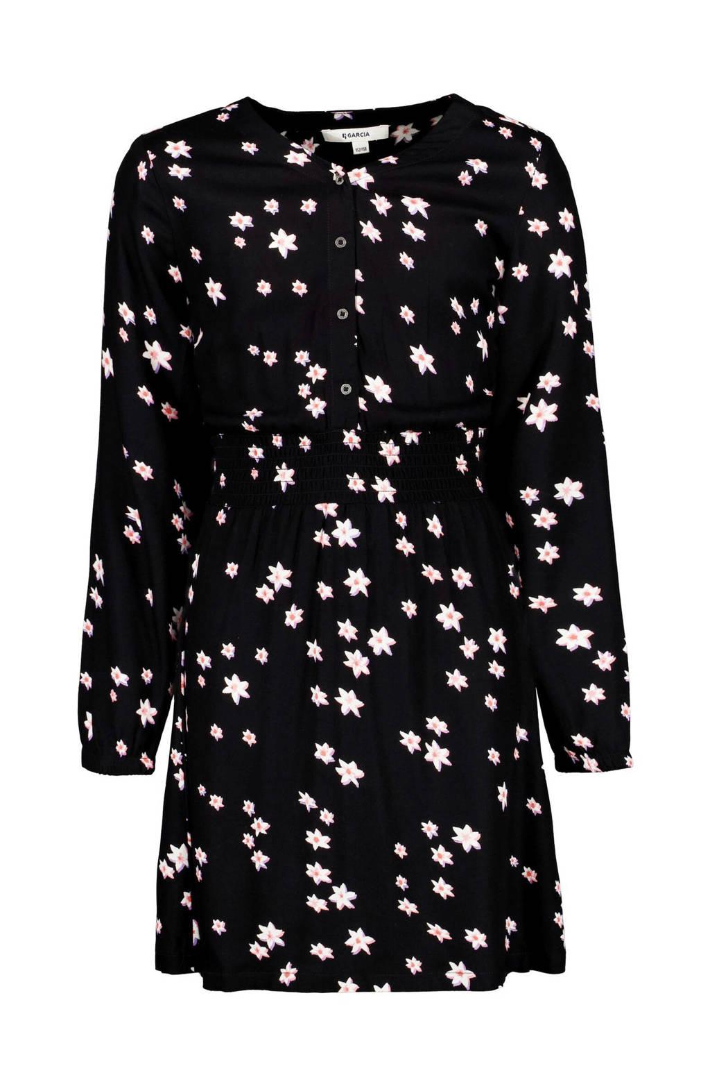 Garcia gebloemde jurk zwart/roze, Zwart/roze